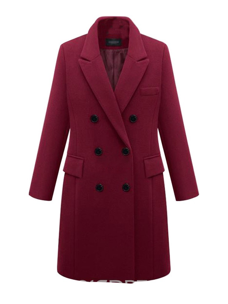 Ericdress Casual Plain Notched Lapel Long Sleeves Coat