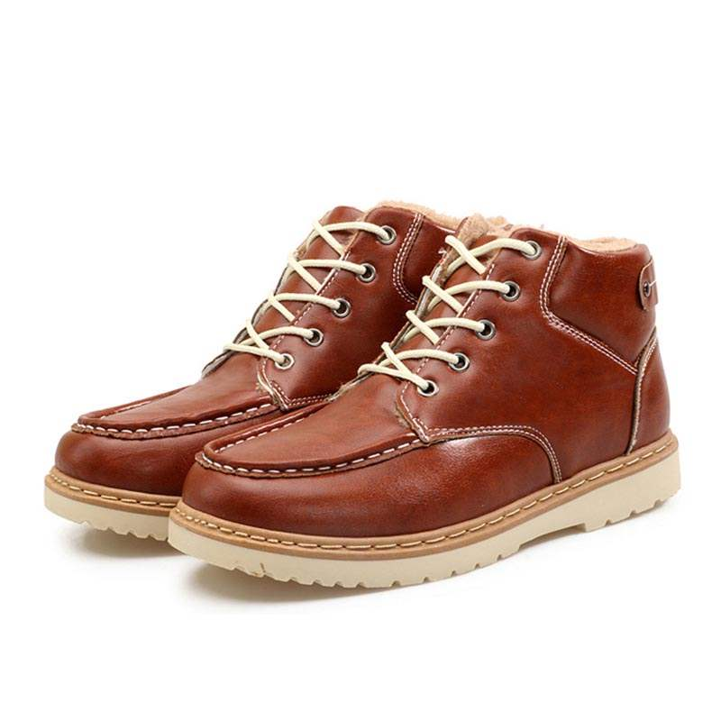 Ericdress Plain Round Toe Lace-Up Front Men's Work Boots