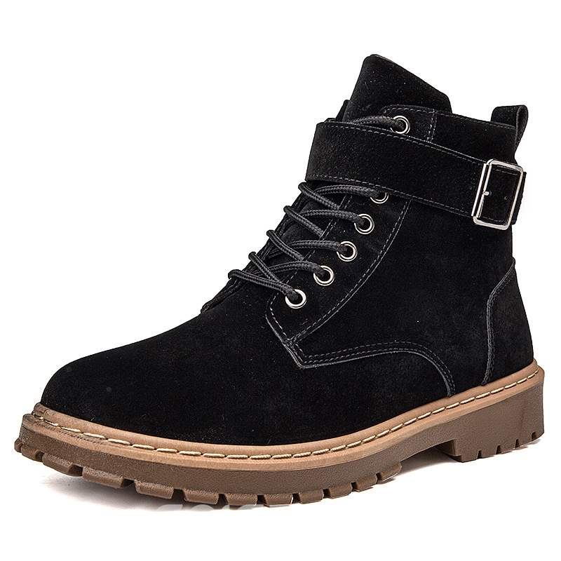 Ericdress PU Plain Round Toe Lace-Up Men's Work Boots