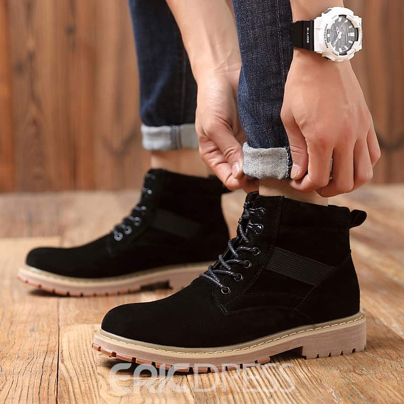 Ericdress PU Plain Round Toe Lace-Up Front Men's Martin Boots