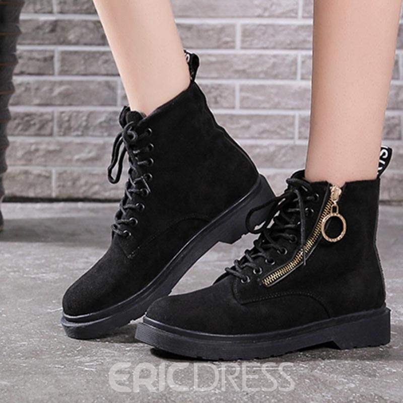 Ericdress Plain Round Toe Side Zipper Block Heel Women's Martin Boots