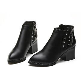 Ericdress Rivets Side Zipper Chunky Heel Women's Ankle Boots