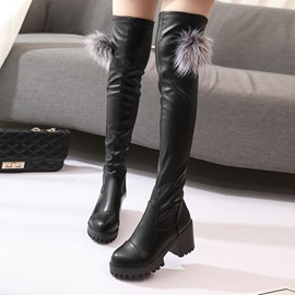 Ericdress Plain Pompon Round Toe Chunky Heel Over The Knee Boots