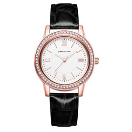 Ericdress Leather Rhinestone Watch