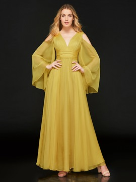 Ericdress A Line Long Sleeve V Neck Empire Long Evening Dress