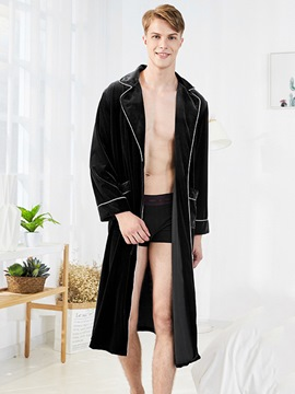 Ericdress Lapel Slim Pocket Simple Men's Night Robe