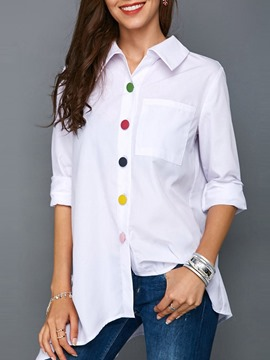 Ericdress Mid-Length Single-Breasted Long Sleeve Blouse