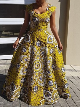 Ericdress Ankara Print Floor-Length A-Line Dress(Without Crinoline)