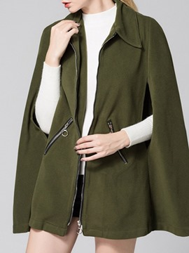 Ericdress Zipper Plain Cotton Lapel Cape