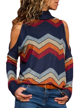 Ericdress Cold Shoulder Loose Stand Collar Stripe Color Block Knitwear