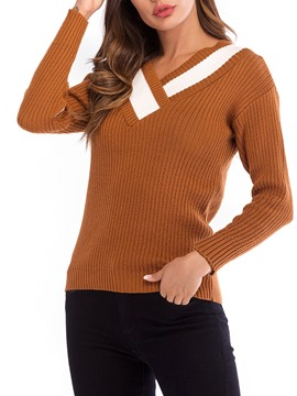 Ericdress Stripe Loose V-Neck Long Sleeves Knitwear