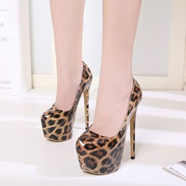 Ericdress Leopard Round Toe Platform Stiletto Heel Pumps