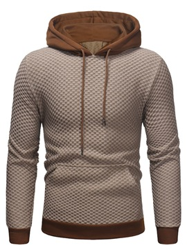 Ericdress Plain Hooded Lace Up Patchwork Mens Casual Hoodies