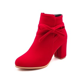 Ericdress Bowknot Round Toe Side Zipper Chunky Heel Women's Ankle Boots