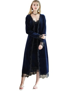 Ericdress Casual Lace-Up Loose Women's Night Robe