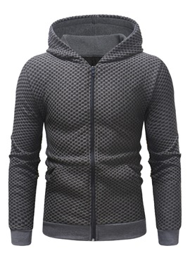 ericdress lace up zipper hoodies mens casual cardigan à capuche