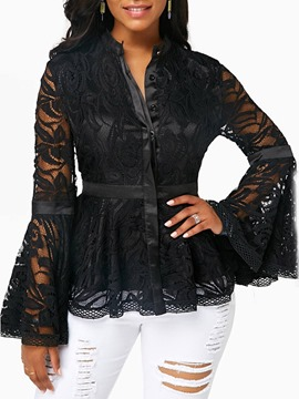 Ericdress Lace Patchwork Sexy Single-Breasted Long Sleeves Blouse