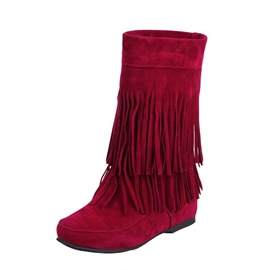 Ericdress Fringe Hidden Elevator Heel Slip-On Women's Boots