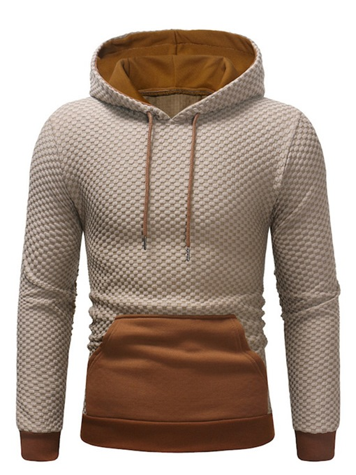 Ericdress Patchwork Plain Pullober Color Block Mens Casual Hoodies