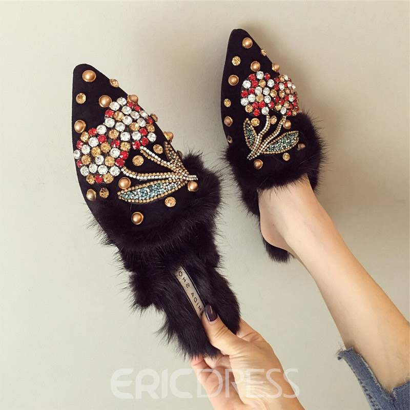 Ericdress Rhinestone Pointed Toe Slip-On Women's Mules Shoes