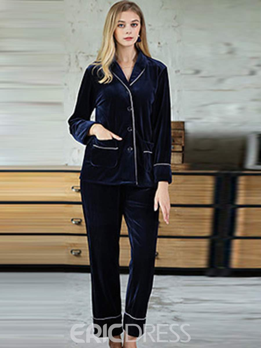 Ericdress Lapel Plain Pocket Simple Women's Pajama Set
