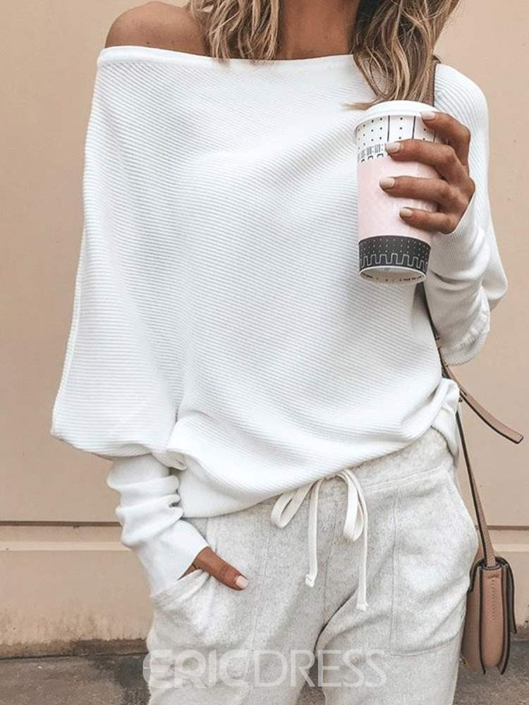 Ericdress Loose Casual Plain Oblique Collar Knitwear
