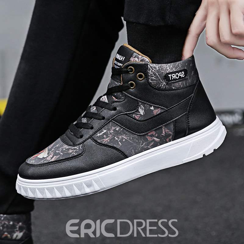 Ericdress PU High-Cut Upper Lace-Up Men's Casual Shoes