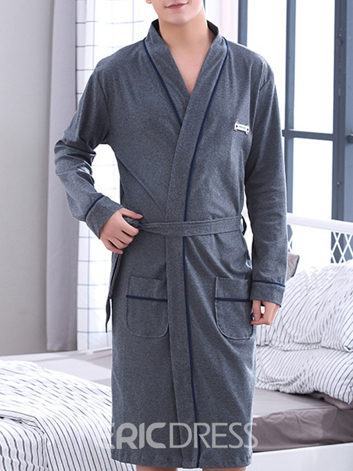 Ericdress Plain Pocket Simple Men's Night Robe
