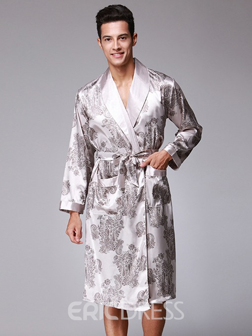 Ericdress Print Slim Lace-Up Men's Night Robe