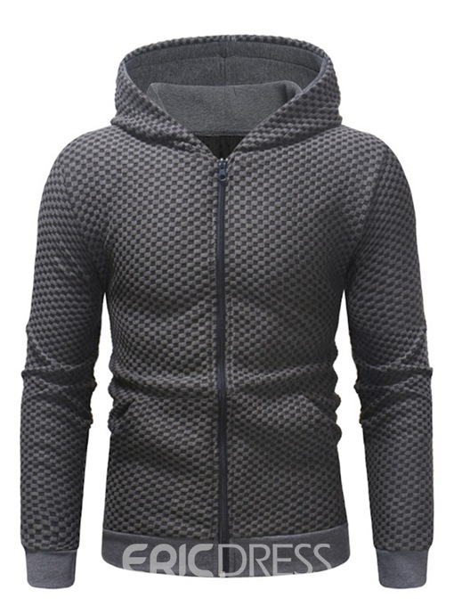 Ericdress Plain Lace Up Zipper Hooded Mens Casual Cardigan Hoodies