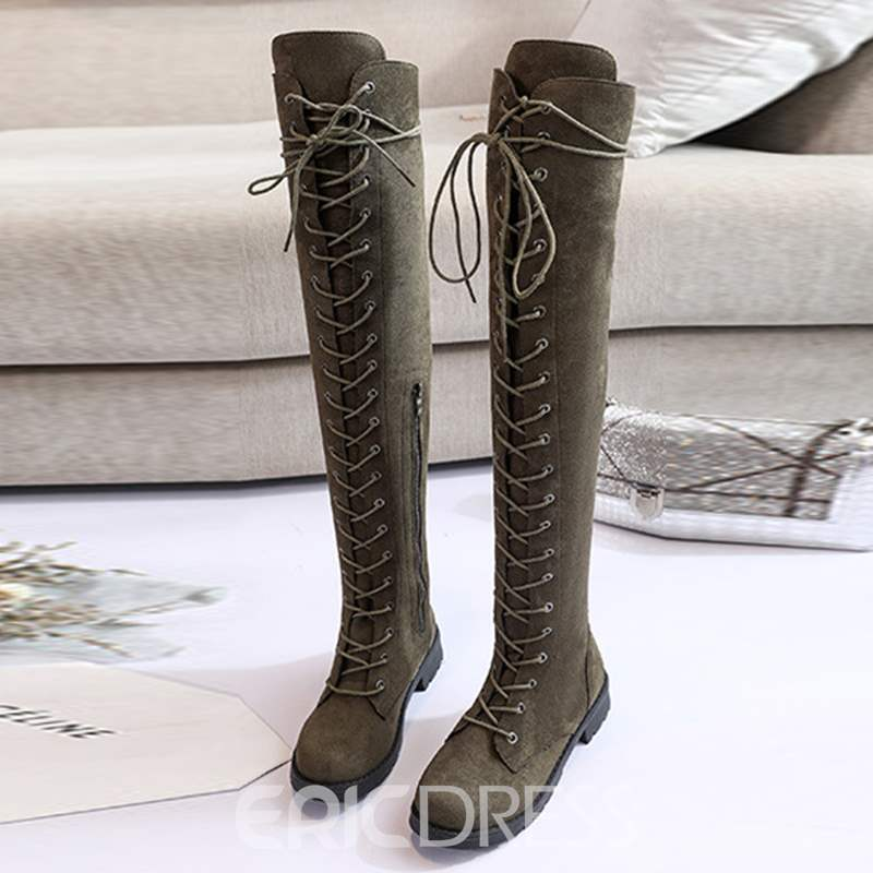 Ericdress Round Toe Side Zipper Block Heel Knee High Boots
