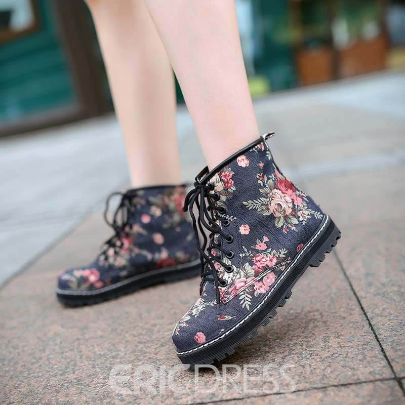 Ericdress Floral Round Toe Lace-Up Women's Martin Boots