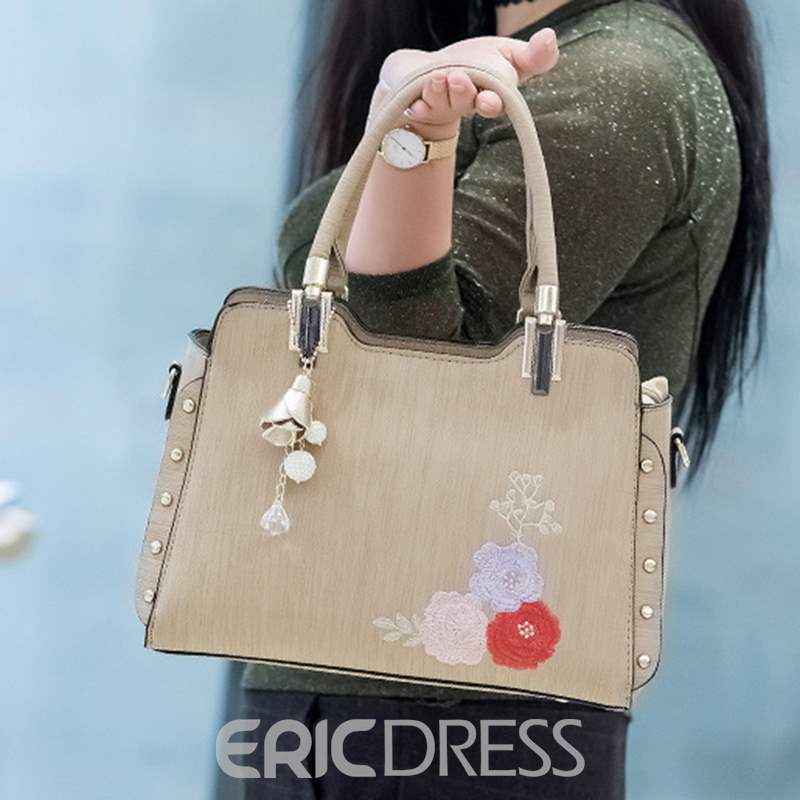 Ericdress Floral PU Hobos Tote Bags