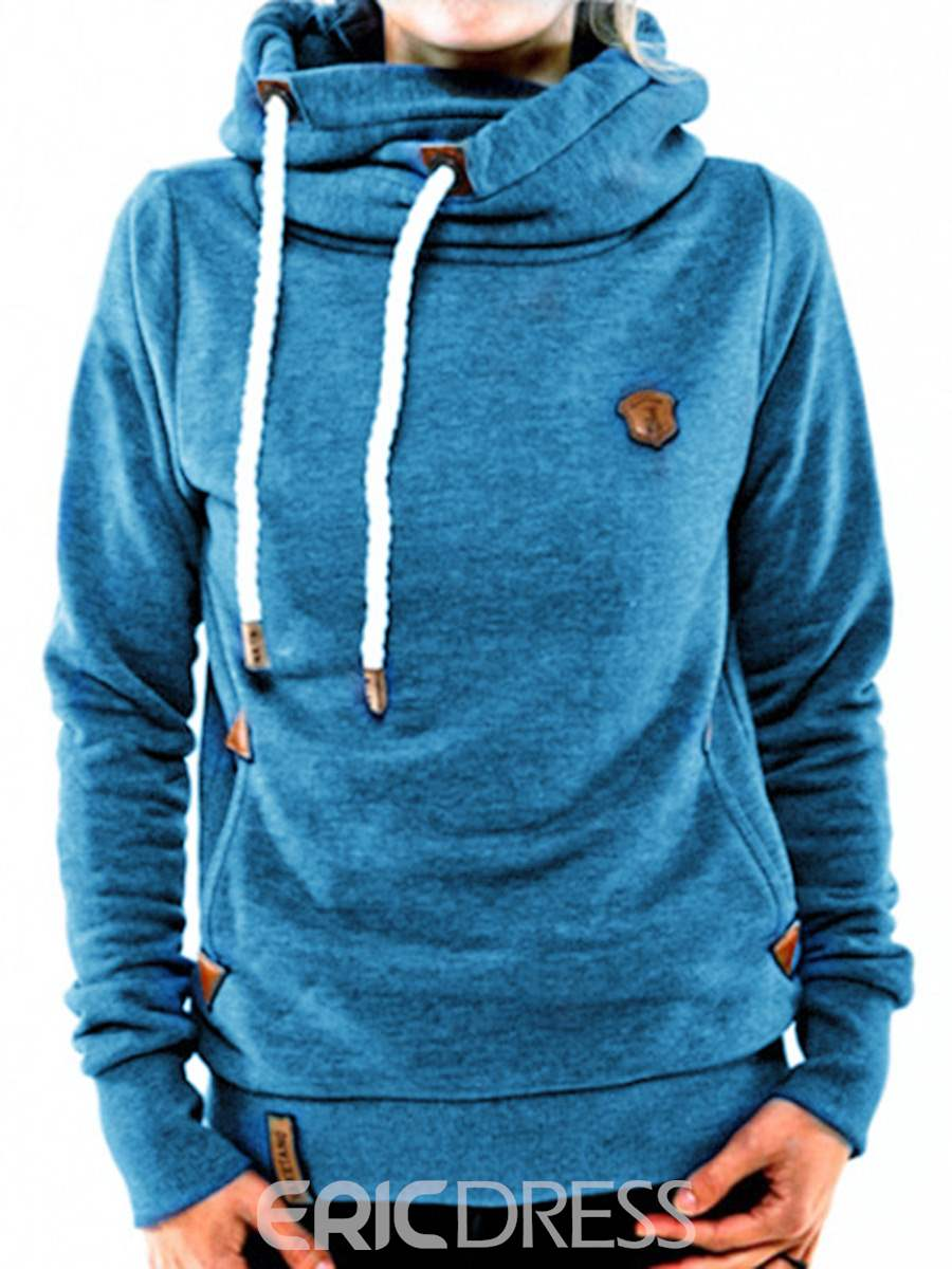 Ericdress Turtleneck Hooded Pullover Mid Length Cool Hoodie