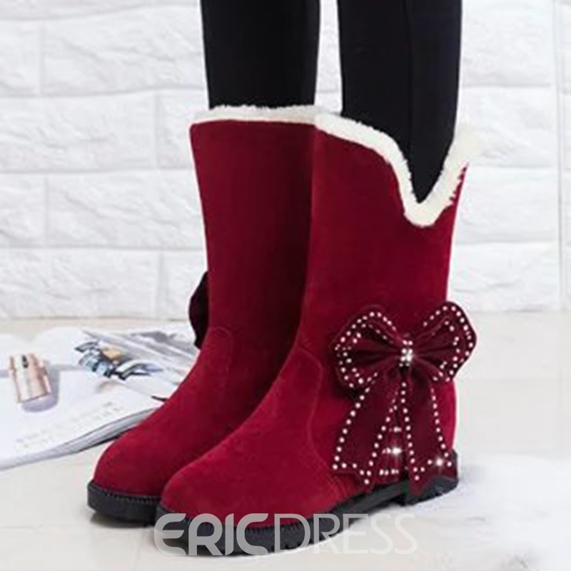Ericdress Bowknot Hidden Elevator Heel Slip-On Women's Snow Boots