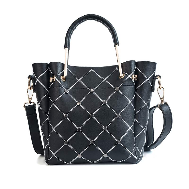 Ericdress Quilted Lining PU Barrel-Shaped Tote Bags
