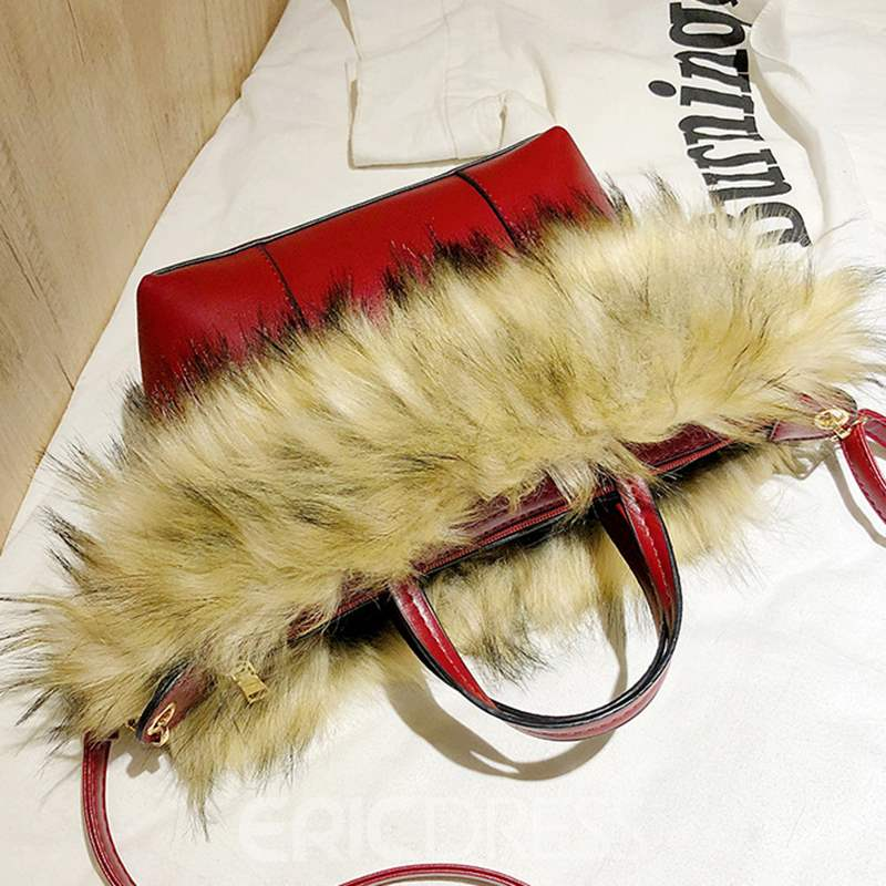Ericdress Warm Faux Fur Plain PU Crossbody Bags