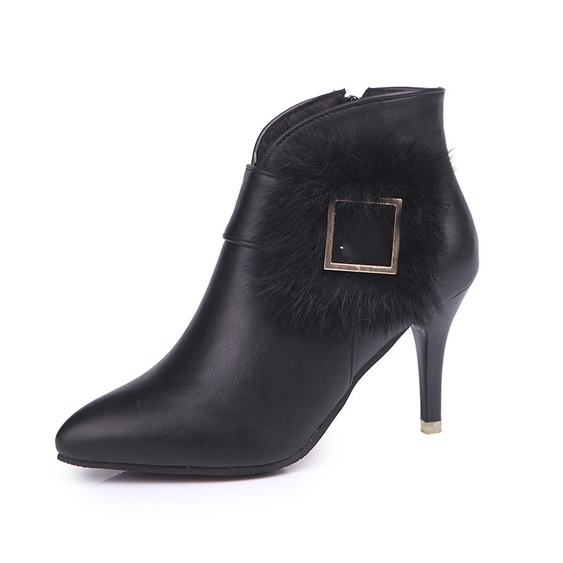 Ericdress Plain Buckle Pointed Toe Stiletto Heel Women's Ankle Boots