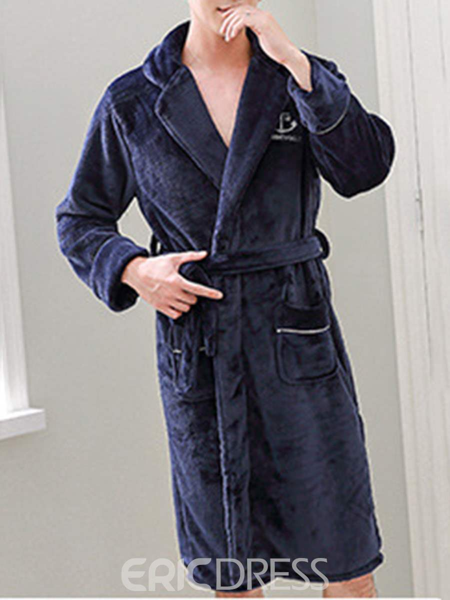Ericdress Velvet Pocket Simple Men's Night Robe
