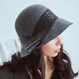 Ericdress Leather Lady Wool Hat