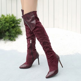 c9f1ab1f99 Ericdress Patchwork Pointed Toe Stiletto Heel Over The Knee Boots