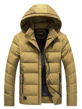 Ericdress Plain Hooded Zipper Thick Mens Casual Down Coats