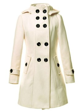Ericdress Solid Color Mid-Length Double-Breasted Coat