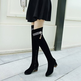 Ericdress Fringe Round Toe Chunky Heel Over The Knee Boots