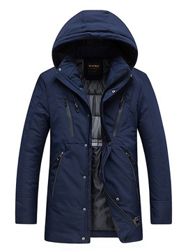 Ericdress Plain Hooded Thick Mid-Length Mens Winter Coats