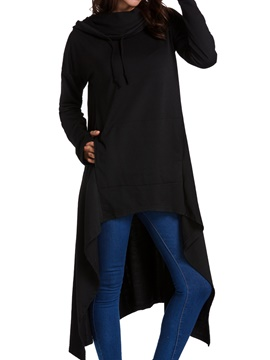 Ericdress Loose Plain Long Asymmetric Pullover Cool Hoodie