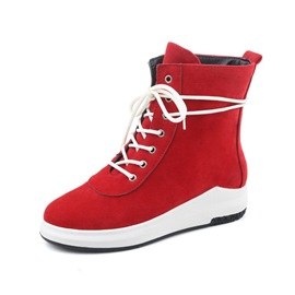 Ericdress Round Toe Lace-Up Front Women's Boots