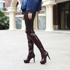 Ericdress Round Toe Plstform Stiletto Heel Women's Knee High Boots