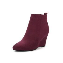 Ericdress Suede Round Toe Wedge Heel Women's Ankle Boots