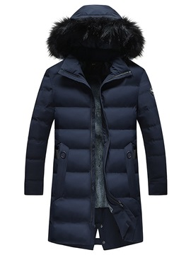 Ericdress Plain Fur Hooded Thick Zipper Mid-Length Mens Down Coats